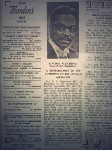 Lincoln Alexander elected the first African Canadian MP, 1968