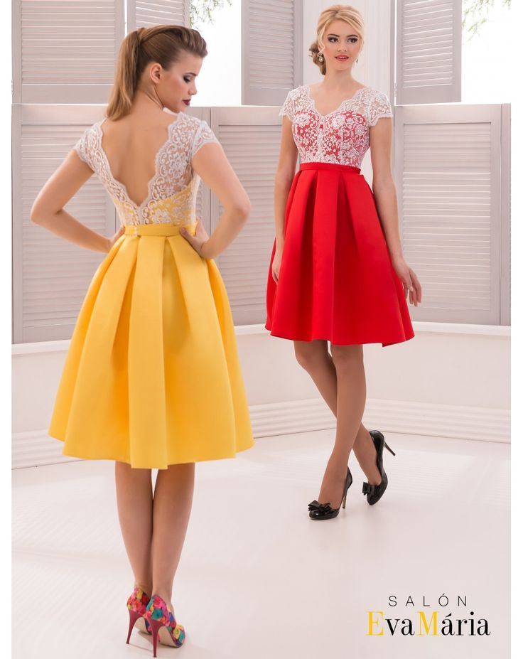 Krátke spoločenské šaty so skladanou sukňou a čipkovaným vrškom