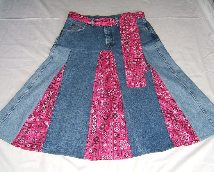 Country western, one of a kind upcycled jean denim skirt with bright pink bandana print fabric inserts. $52.00, via Etsy.