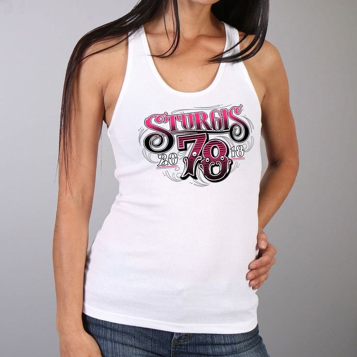 Official 2018 Sturgis Motorcycle Rally Tattoo Shop White Ladies Tank Top -