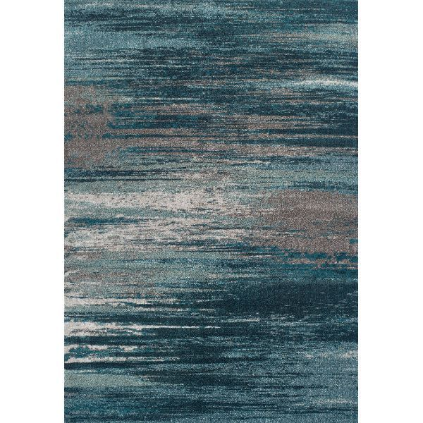 8 x 11 Large Teal & Grey Area Rug - Modern Greys
