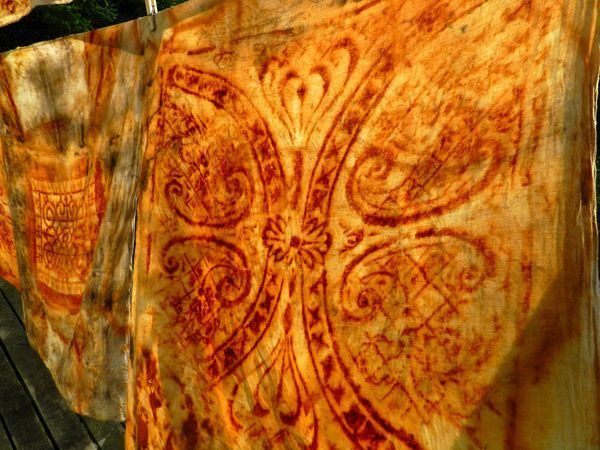 get out your rusty washers and so forth rust up some paper wrap rusty ceiling tiles weight them properly let them rest overnight unwrap then take a peek gather rusty paper make a new journal add vellum, pockets and fun...