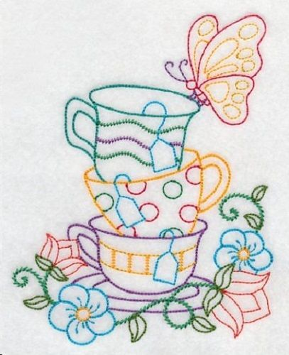 EMBROIDERED COLORFUL CUPS  FLOUR SACK DISH TOWEL-2 #Handmade
