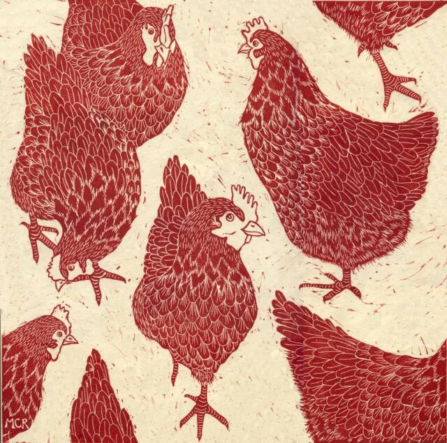 linocut print by Marliese Richmond  http://www.threebearsprints.com/shop/hens-pecking