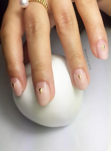Single stripe nail art might just be the easiest nail trend to recreate that even if you were artistically challenged, you can't mess this one up.  The great thing about minimalistic nail art is that it is fuss-free, making it fairly easy to do on your own.  Negative space nail art may have been the