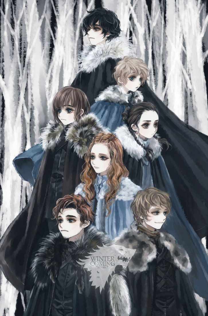 "Great fan art of the Stark Children ""Winter Is Coming by ~tyusiu"" via deviantART"