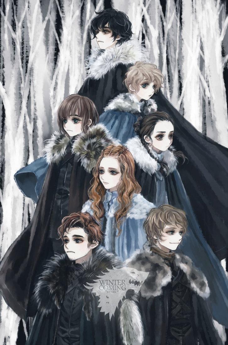 """Great fan art of the Stark Children """"Winter Is Coming by ~tyusiu"""" via deviantART"""