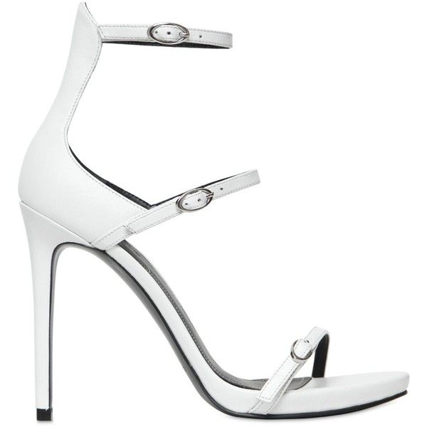 KENDALL+KYLIE 115mm Audra Leather Sandals ($158) ❤ liked on Polyvore featuring shoes, sandals, white, white shoes, leather high heel sandal, white high heel shoes, platform sandals and leather sole shoes