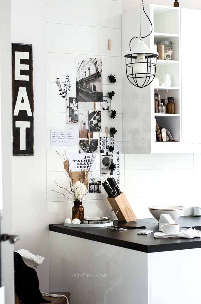 black and white kitchen, moodboard wall. agnetha home