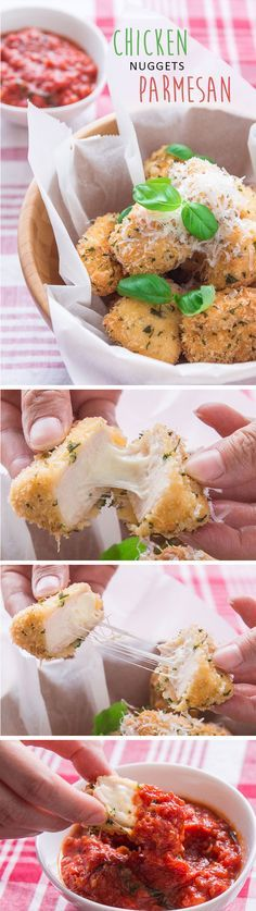 Crispy chicken parmesan nuggets filled with a molten mozzarella center! Fun for kids, mind-blowing for adults.