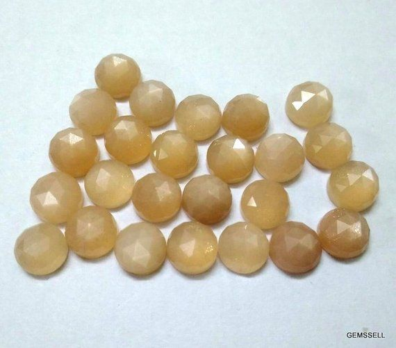 Peach Moonstone Rose Cut Round Cabochon ~ Various Sizes