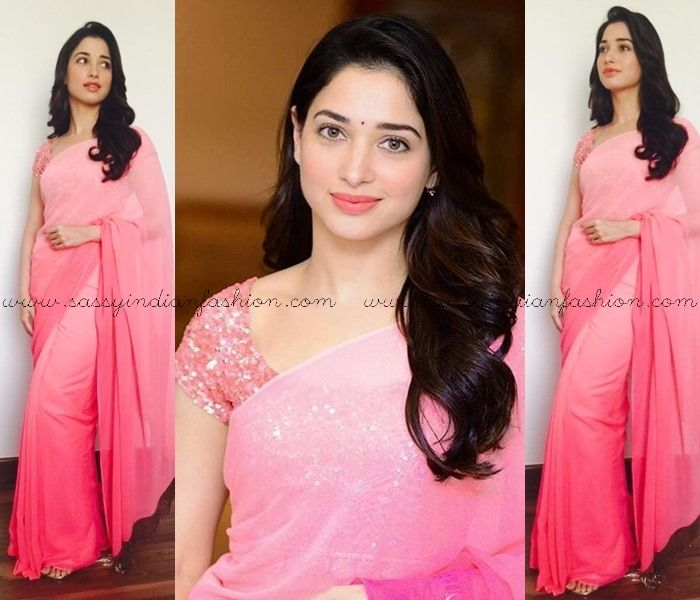 Tamanna in Pink Saree, Plain Pink Saree and Designer Blouse, Celebrity in Pink Saree, Tamanna in Manish Malhotra Sarees, Celebrities in Manish Malhotra Sarees.
