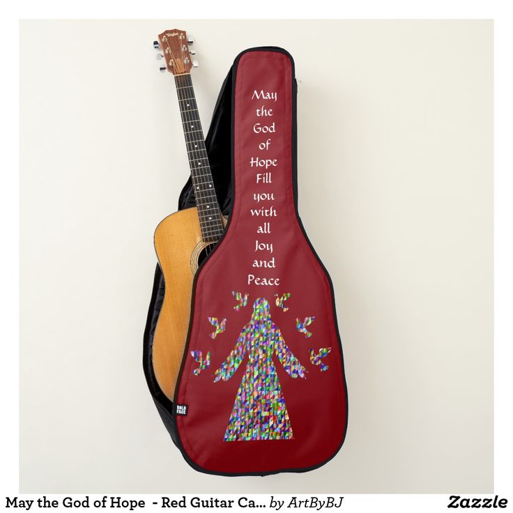 May the God of Hope  - Red Guitar Case - New Range of Guitar Cases specially designed for Church bands and musicians, or any Christian singing praises to God. . . . Some with a Decorative Cross, others with Bible verses,  IHS logo's and more. . . . So whether you are playing  music for the Church Band, modern hymns or Gospel singing groups, these Cases for your Acoustic Guitars and Electric Guitars are just the thing!  . . . . . Visit to see them all - you'll find AT LEAST one you really…