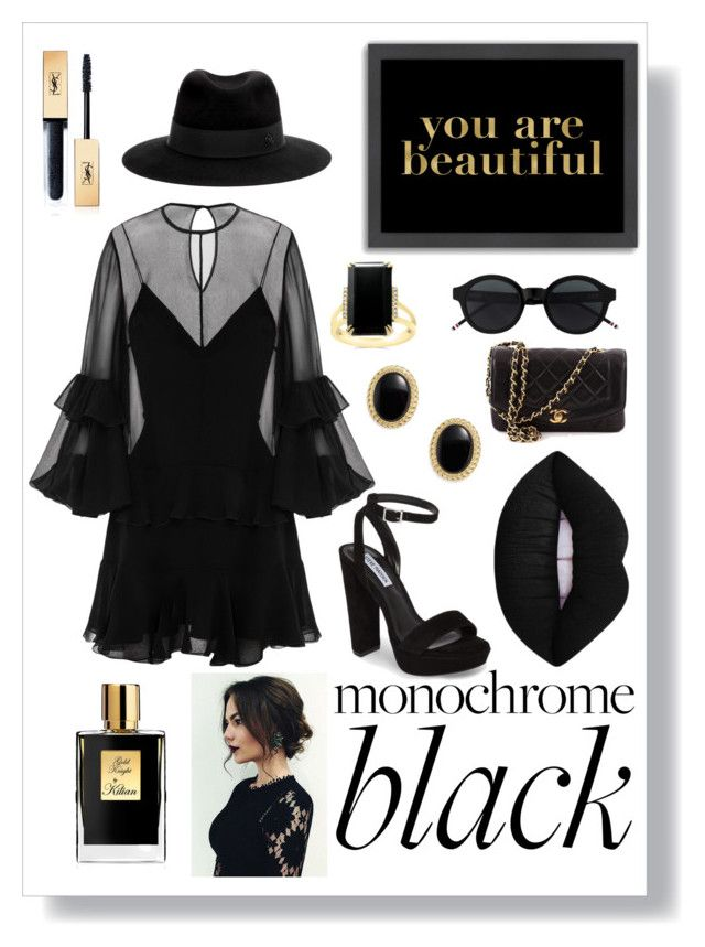 """""""Untitled #91"""" by ahbee-normal ❤ liked on Polyvore featuring Alex Perry, Steve Madden, Maison Michel, Bloomingdale's, Americanflat, Kilian, Yves Saint Laurent, Chanel and allblackoutfit"""