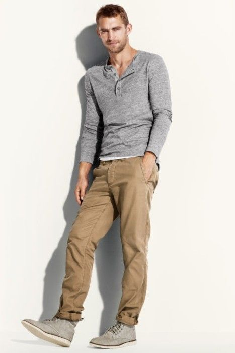 Here's a nice casual men's look as an alternative to a t-shirt and jeans  www.viraltimez.com