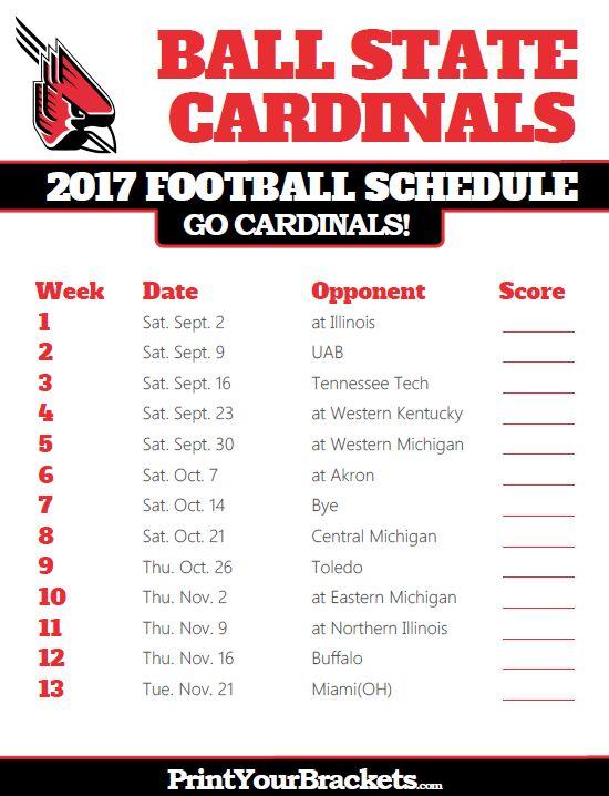2017 Ball State Cardinals Football Schedule