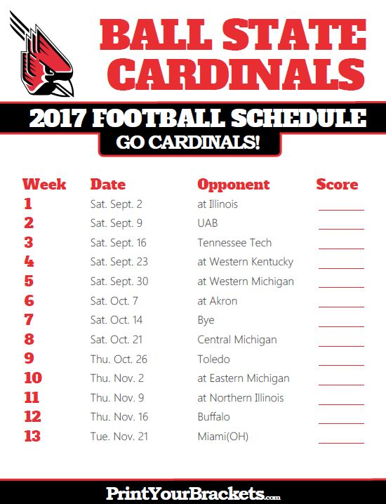 2017 Ball State Cardinals Football Schedule