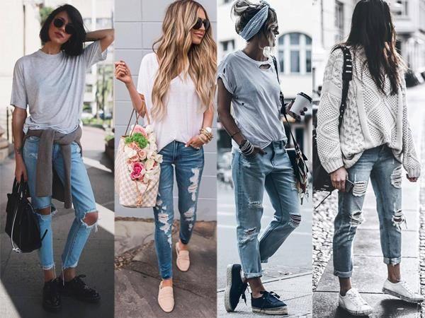 Damenmode Die Beste Zerrissene Jeans Outfits