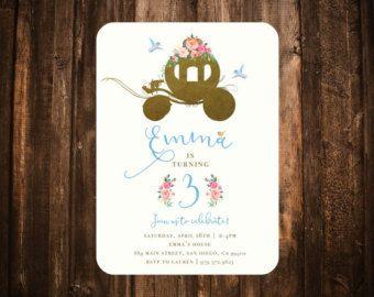 Invitación de cumpleaños de Cenicienta; Floral, acuarela, cuento de hadas; Para imprimir o un conjunto de 10