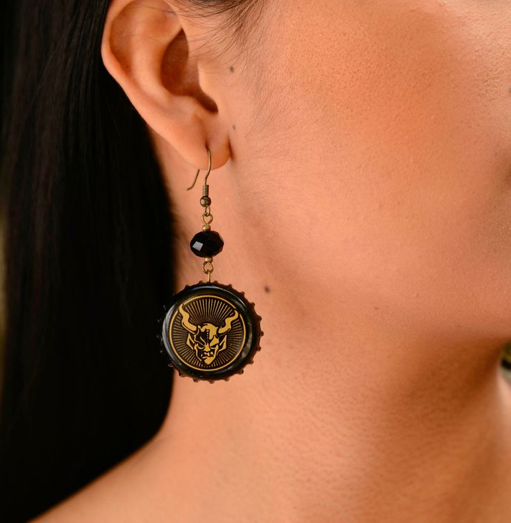 Stone IPA Recycled Gargoyle Bottle Cap Earrings With Crystal - pinned by pin4etsy.com