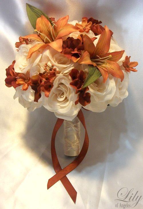 Burnt Orange Centerpieces for Wedding   ... Wedding Table Decoration Center Flower Vase Silk Fall Burnt Orange