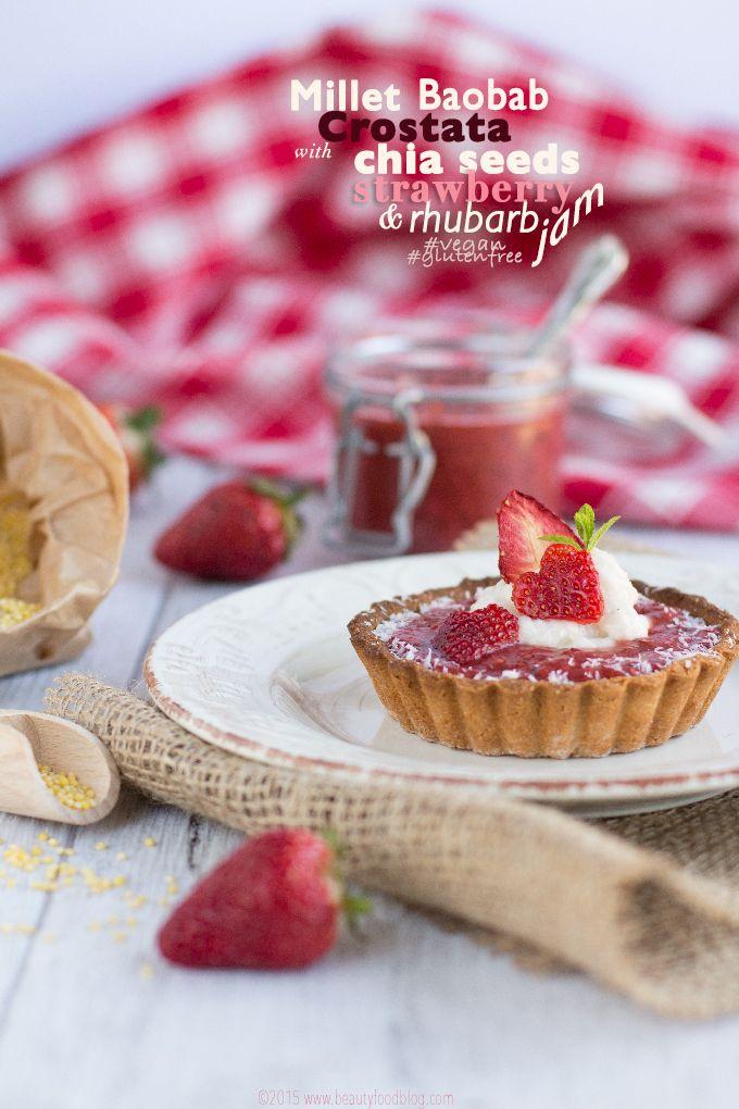Millet Vegan glutenfree crostata with chocolate, chia seeds, strawberry and rhubarb jam #vegan-#glutenfree