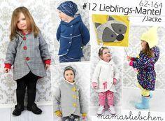 """**mamasliebchen #12 Lieblings-Mantel / Jacke** Mit diesem E-Book """"#12 Lieblings-Mantel"""" bekommst Du einen Jacken- und Mantelschnitt, welcher sich in verschiedenen Variationen nähen lässt. Ob in..."""