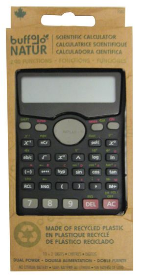 Green school supplies | This Buffalo Natur scientific calculator made of recycled plastic really adds up!  http://greenapplesupply.org/shop-green/school-office-supplies/recycled-plastic-scientific-calculator