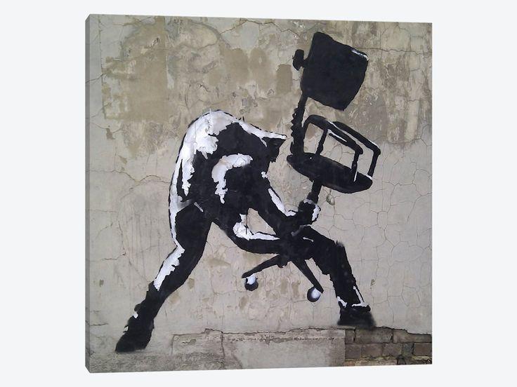 """London Calling by Banksy Canvas Print 26"""" L x 26"""" H x 0.75"""" D - eWallArt"""