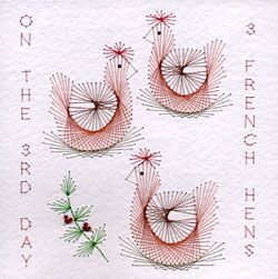 PinBroidery Stitching Cards Three French hens Square