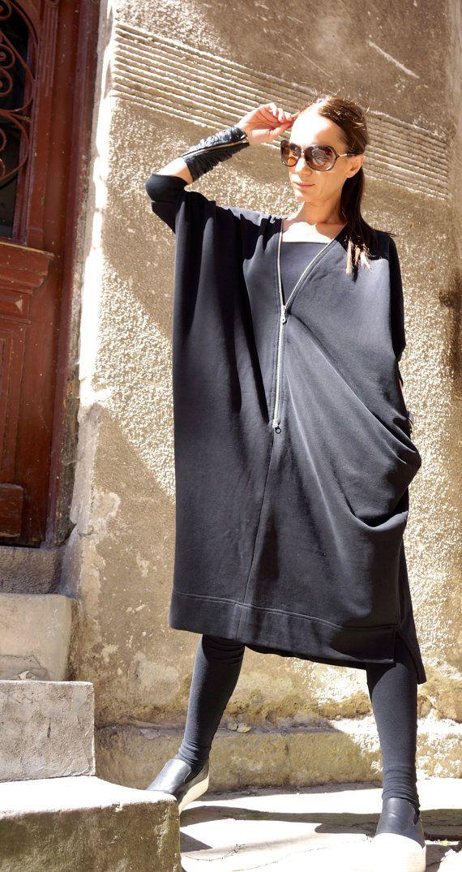 Colección primavera nuevo negro Kaftan vestido Maxi Terry francés negro algodón cremallera doble asimétrico- vestido caftán de AAKASHA A03212