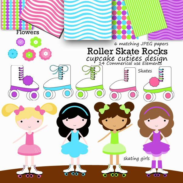 Roller Skate Rocks Clip Art And Matching Papers Great For Invitations