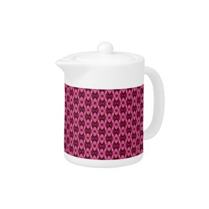 Pink Damask Hearts Small Teapot - kitchen gifts diy ideas decor special unique individual customized