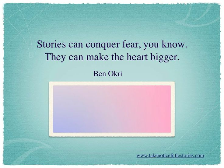 Stories can conquer and heal.