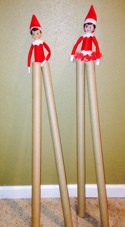 Elf on the Shelf Stilts Chippy and candy are walking high on wrapping paper stilts.