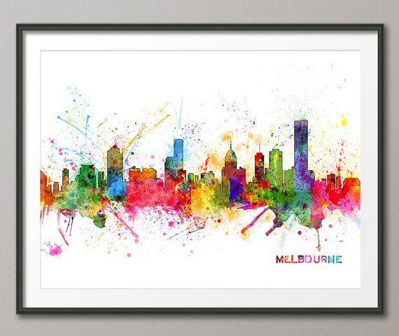 Melbourne Australia Skyline Art Print 1050 by artPause on Etsy, £12.99