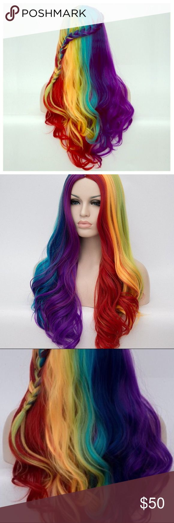 Rainbow  braided Heat Resistant Wig⭐️ Rainbow Bright , Unicorn , Mermaid , Studio 54  Halloween Wig! CosPlay/Halloween Heat Resistant Rainbow Braided Wig. 28-30 inches long. Comes already braided, looks exactly like pics (braid can be undone if desired as shown in last pic) new in bag with storage bag & hair cap (to hide natural hair while wearing) Has an adjustable strap to make it fit perfectly (last pic shows inside, except this one is nude & doesn't have the front clip) Super high…