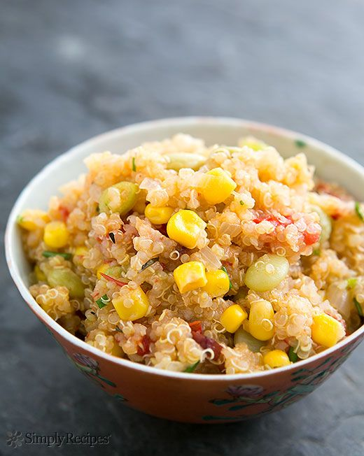 Quinoa Succotash ~ Quinoa cooked with a succotash of corn, bacon, baby lima beans, and fresh tomatoes. ~ SimplyRecipes.com