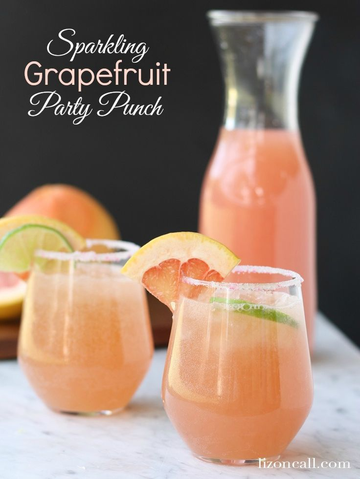 This sparkling grapefruit party punch is a light, refreshing and non-alcoholic drink perfect for a Mother's Day brunch punch.