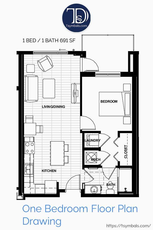 Modern One Bedroom 3d Floor Plans Tsymbals Design Bedroom Floor Plans Floor Plans Floor Plan Drawing