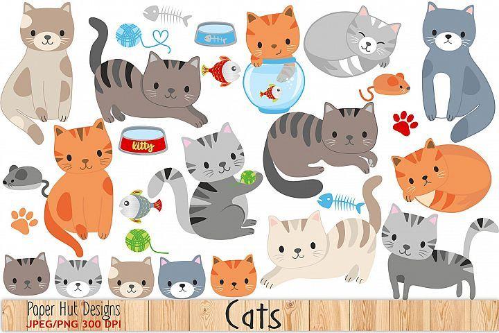 Cute Cat Clipart Kartu Kucing Kartu Kertas