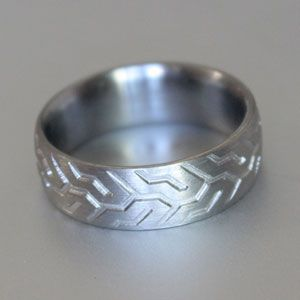 tyre tread titanium wedding ring