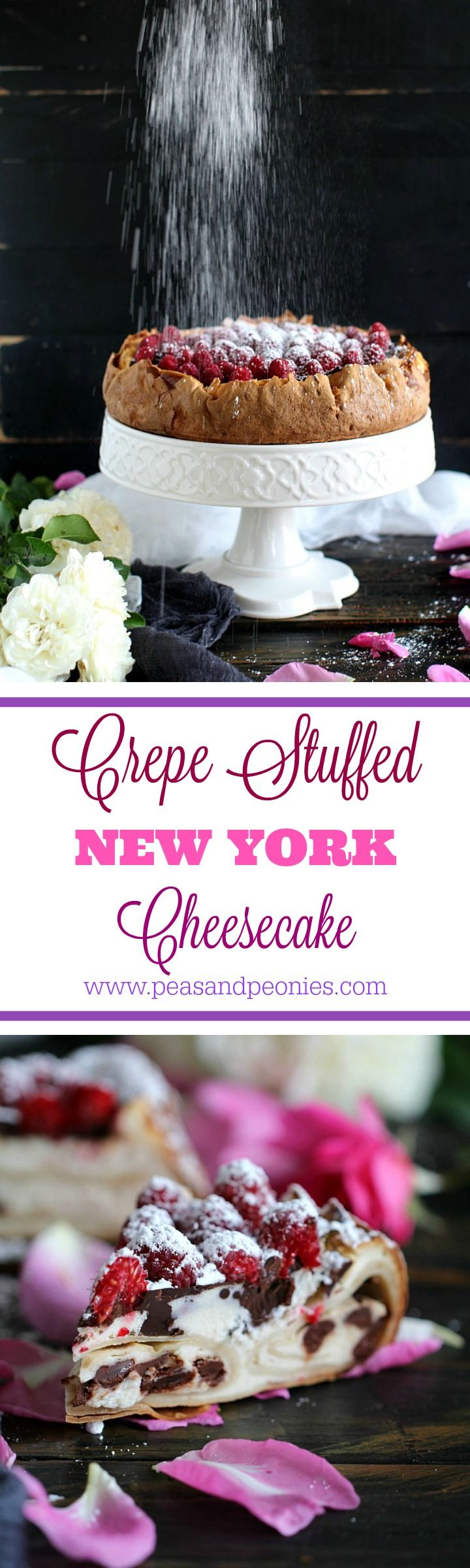 Crepe Stuffed New York Cheesecake - This crepe stuffed New York cheesecake is an incredible combo of buttery, ricotta chocolate chip stuffed crepes baked into a NY cheesecake. Peas and Peonies #crepecake #newyorkcheesecake #cheesecake #creamy