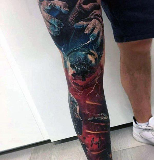 17 Best Ideas About Leg Sleeve Tattoos On Pinterest
