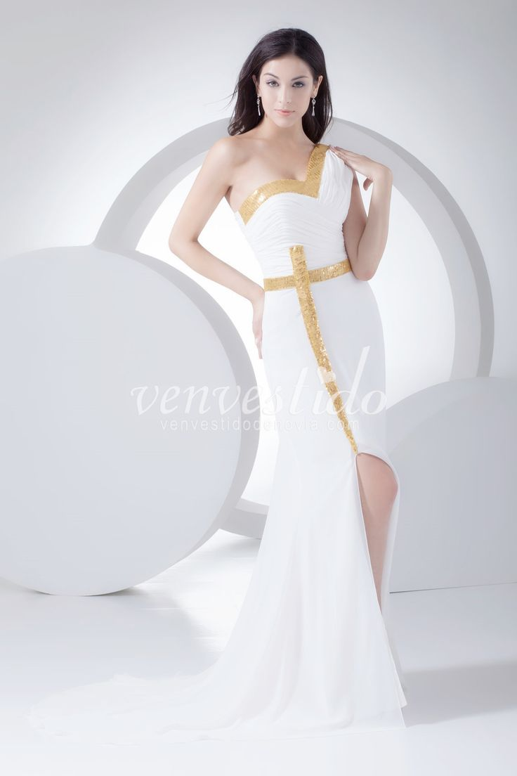 A-line One Shoulder Chiffon Waist Natural Tail Sweep / Brush Sleeveless Zipper Sequins Ruched Dress Divided De Oro Dance Party