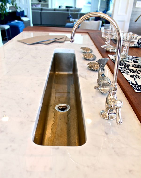 narrow sink gooseneck faucet in extra kitchen island bakes u0026 company fill sink with ice to chill drinks then drain easily