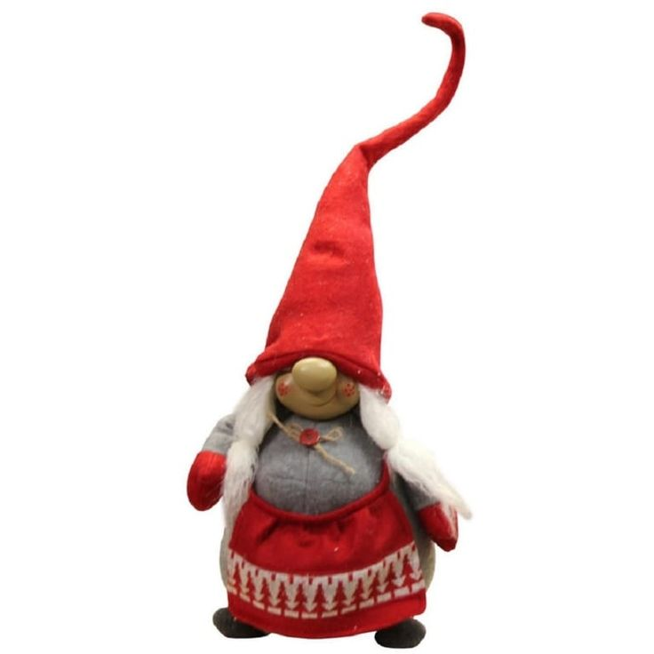 24 Grinning Female Gnome Decoration with Red Apron and Twine Bow