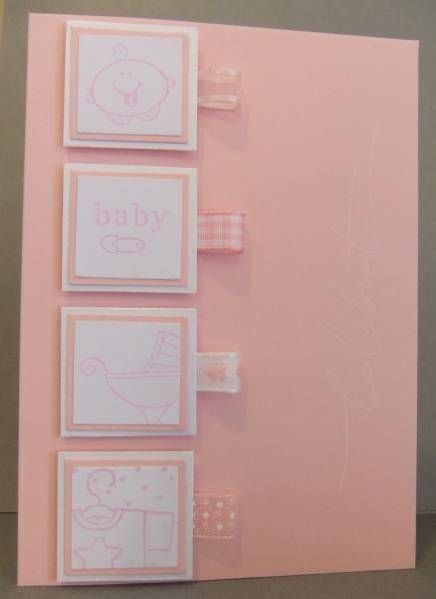 """""""Each inchie layered and mounted with foam tape. Loops of different pink ribbons on right of each inchie. """"Celebrate"""" is stamped in Whisper White down the right of the card but not showing up well here (it's OK IRL though)."""" - I would do 3 images instead of 4 though"""