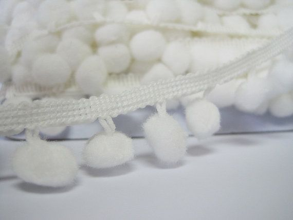 5 Yards Off-White Large Pom Pom Trim White Trim Pom Pom