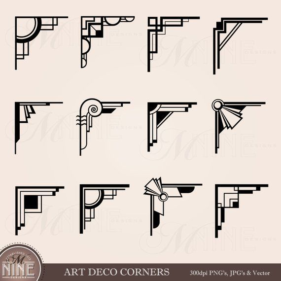ART DECO CORNERS Digital Clip Art Clip, Instant Download, Vintage Design Elements Antique Borders Clip Art Black Silhouette